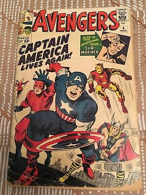 Avengers #4 (1.5) - First Silver-Age Captain America...Huge Marvel Key!!!