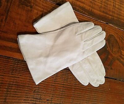 VINTAGE 1950s Women's Ladies Dress White Gloves Silk Lining Leather FOWNES