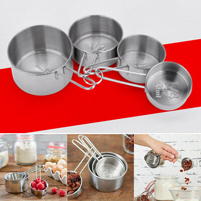 Set Of 4 Stackable Baking Measuring Cups Stainless Steel Metal Precision Kitchen