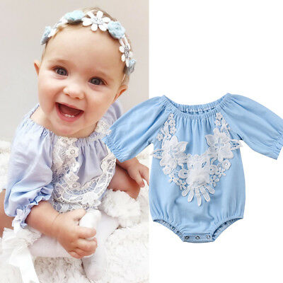 Newborn Baby Girls Lace Romper Backless Bodysuit Photo Photography Prop Outfits