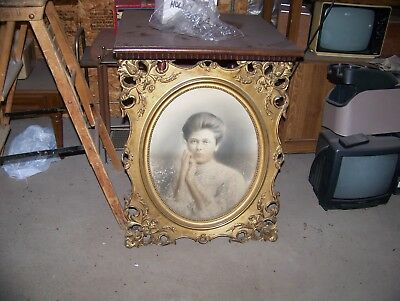 Large Antique wooden ornate picture frame with vintage photo!