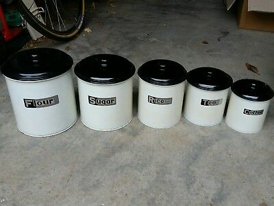 5 x VINTAGE Kitchen Food Canisters, nesting. RETRO Great condition! Enamel