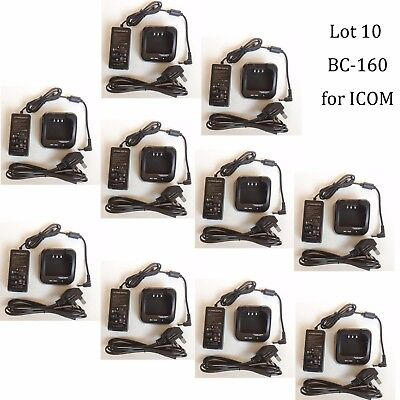 10X BC-160 Li-ion Rapid Charger Adapter for ICOM IC-F4162T IC-F4162S Radio