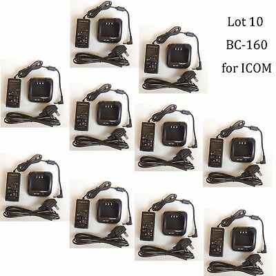10X BC-160 Li-ion Rapid Charger Adapter for ICOM IC-F4163T IC-F4163S Radio