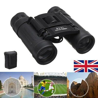 8x21 Zoom Mini Compact Binocular Telescope Roof Foldable Case Day Night Vision