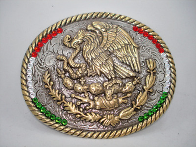 Mexico Coat of Arms Flag Western Rodeo Cowboy Mexican Vintage style belt buckle