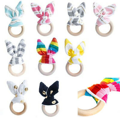 Cute Wooden Natural Chewie Teether Bunny Sensory Toy Baby Teething Ring Eager