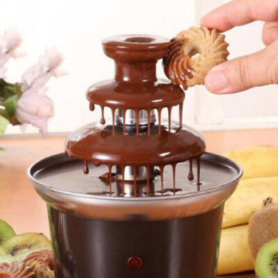 Chocolate Fountain Fondue Maker Heated 3-Tier Home Household Party  Machine