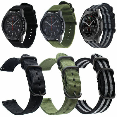 20 22mm Quick Release Military Woven Nylon Canvas Fabric Band Strap Black Buckle