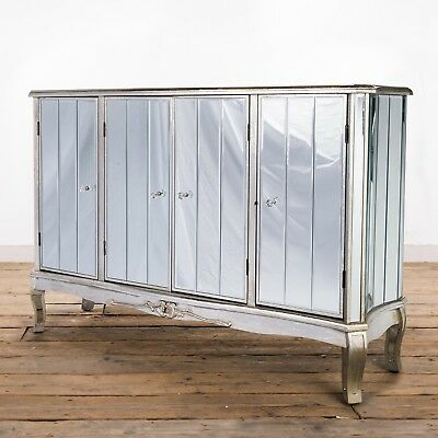 Antique Silver French Mirrored Glass Large Sideboard Cabinet (Ven0014)