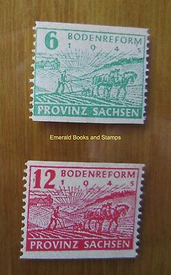 EBS Germany 1945 Soviet Zone SBZ Saxony Land Reform PERF Michel 85-86C MNH** (d)