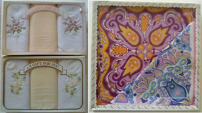 Vintage Retro 3 Boxed Sets Ladies Handkerchiefs Cotton Embroidered and Print