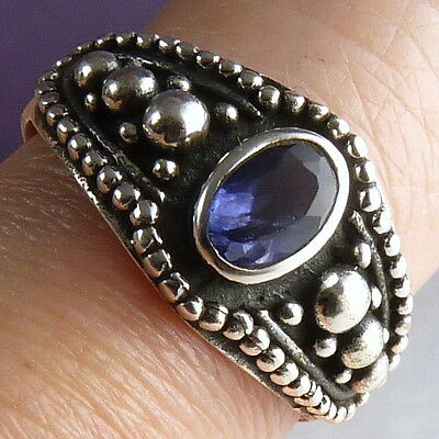 Narrow Granulation Size US 8.25 SilverSari Gem Ring Solid 925 Silver + IOLITE