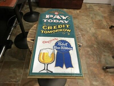 Vtg Pabst Blue Ribbon Beer Sign Old Wooden Pay Today Credit Tomorrow Tavern Bar