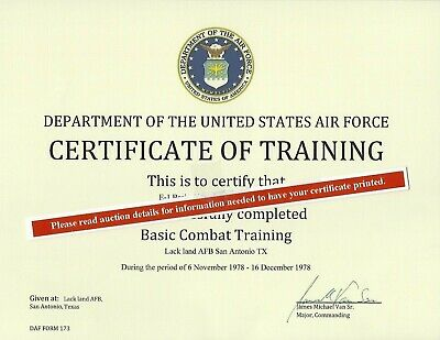Basic Training / Boot Camp Certificate of Training Army Navy USMC USAF USCG