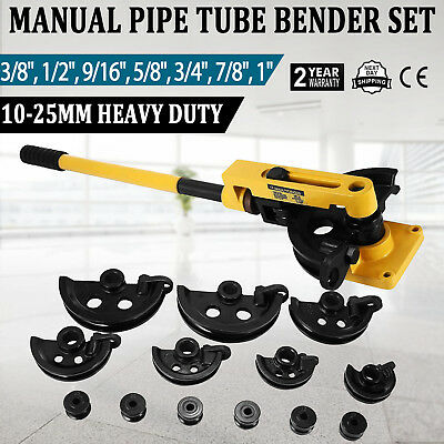 "Manual Pipe Tube Bender Set 3/8"" 1/2"" 9/16"" 5/8"" 3/4"" 7/8"" 1"" W/ Dies Local"