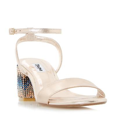 645dd658226 Dune Ladies MARBLE Embellished Chevron Block Heel Sandal in Rose Gold