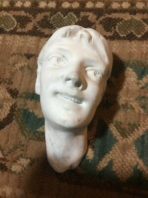 antique BOY head sculpture bust figure Plaster Wall Hanging