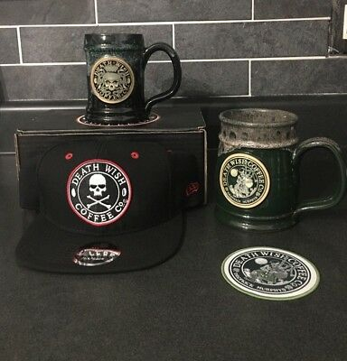 Death Wish Coffee 2 Mug Set W/free Snapback Hat And Patch (Sold Out Items)