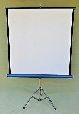 """Vintage Atlantic Universal Projector Screen 36""""x44"""" on Stand with Original Box"""