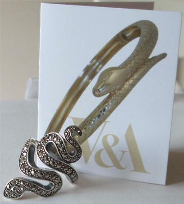 V&a The Victoria And Albert Museum, Silver & Marcasite Serpent Ring Rrp £115.00