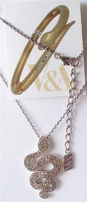 V&a The Victoria And Albert Museum, Silver & Marcasite Serpent Necklace Rrp £285