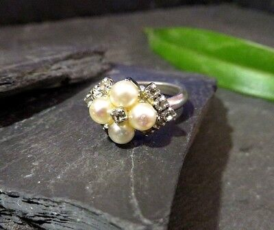 Exclusiver Ring Christian Chr. Dior Germany Perle Zirkonia Modeschmuck Retro