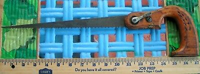 """Vintage Key Hole Saw Vintage, 17"""" Original Two Hole Handle (With Wheat Pattern)"""