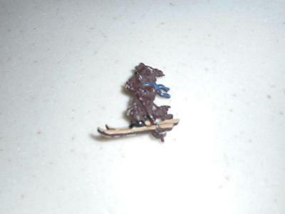 Old Scottie Scotty Terrier Dog On Skis Pin