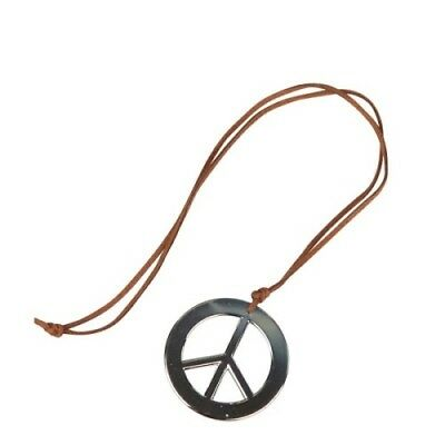 Hippie 60s 70s CND Peace Sign Medallion Necklace Fancy Dress Costume Accessory