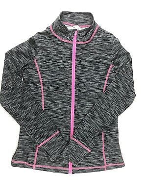 Ideology Girls Athletic Zip Up Long Sleeve Size XL Gray Pink