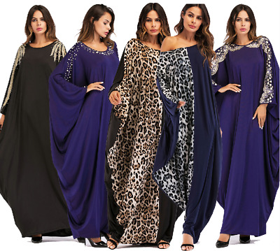 Ramadan Abaya Muslim Women Bat Sleeve Maxi Dress Islamic Abaya Loose Robe Kaftan