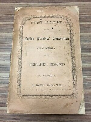 Very RARE 1860 First Report Cotton Planters Convention of GEORGIA Augusta GA 1st