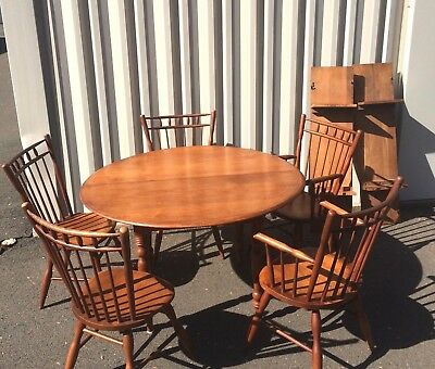 Conant Ball Table with 2 Leafs & Matching 5 Chair Set Mid Century Russel Wright