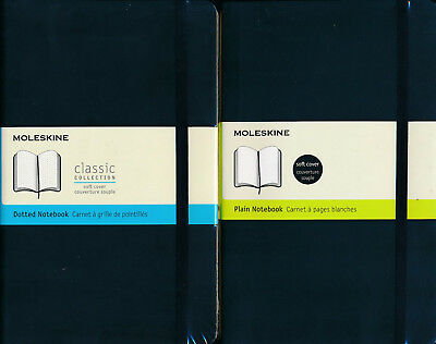 Moleskine Plain or Dotted Notebook soft cover NEW 13 x 21 cm 192 pages
