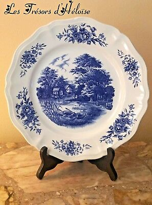 ASSIETTE PLATE SARREGUEMINES DECOR ROMANTIC 25.3  cm Ancienne Vintage