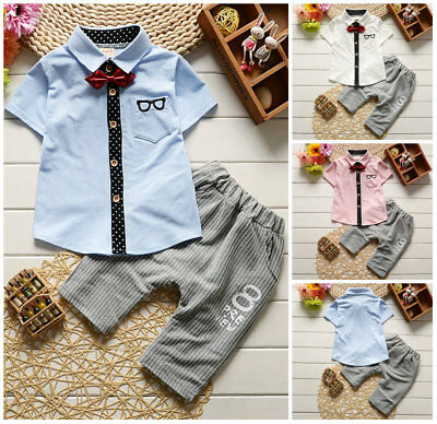 Baby boys summer cotton Clothing shirt+Pants 2PCS party outfits gentleman tuxedo