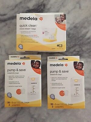 Medela Breastmilk Bags 2 20ct With Adapters And Quick Clean Micro-steam Bags