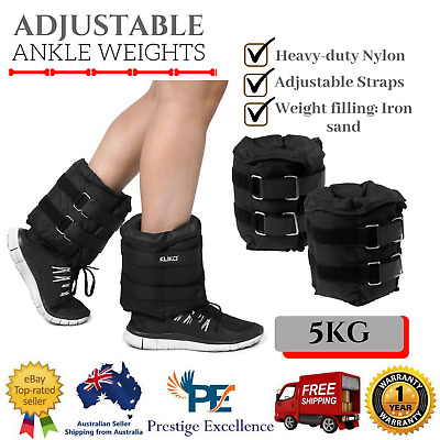 Adjustable Ankle Weights Wrist Fitness Yoga 2x 5KG Weight Pair Strap On Training