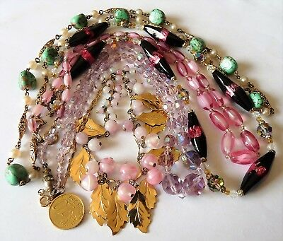 Antique Vintage Necklaces / Lot De Bijoux Anciens Colliers Perles Murano Cristal