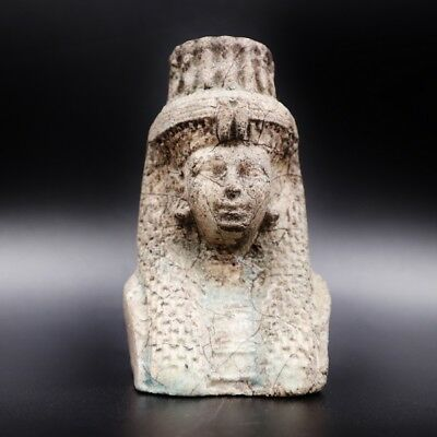 Amazing Ancient Egyptian Faience Pharaoh Bust Figure, Late Period 600 -300 B.C