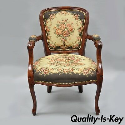 Vintage French Louis XV Provincial Style Arm Chair Floral Tapestry Fabric