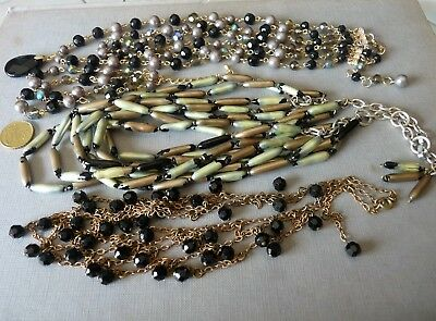 Antique Vintage Necklaces / Lot De Bijoux Anciens Colliers Perles Jais Cristal