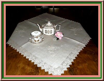 Amazingly Beautiful Antique Ecru Linen Tea Tablecloth With Lots Of Filet Lace