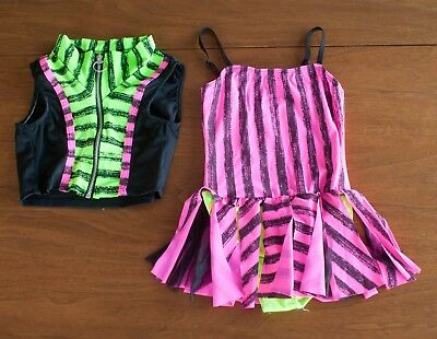 Dansco Dance Costume Child Sz M (MC) Black Neon Pink & Green Stripe Hip Hop
