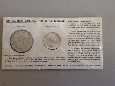 *Reduced* 1947 SILVER GENERAL DOUGLAS MACARTHUR 2 COIN PHILIPPINE