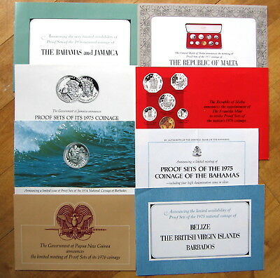 Franklin Mint Coin Proof Set Announcements 70's Jamaica Barbados Bahamas Malta