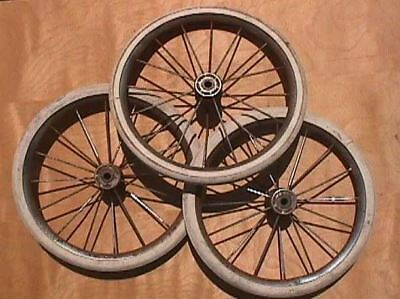 """3 Vintage 11"""" Wire Spoke Carriage or Buggy Wheels"""