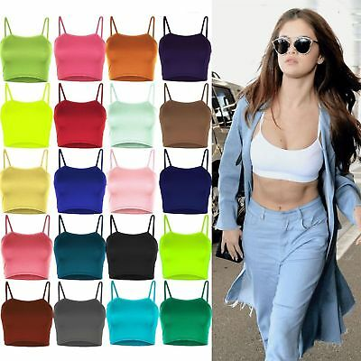New Women's Ladies Plain Sleeveless Strappy Cami Bralet Bra Summer Crop Top Vest