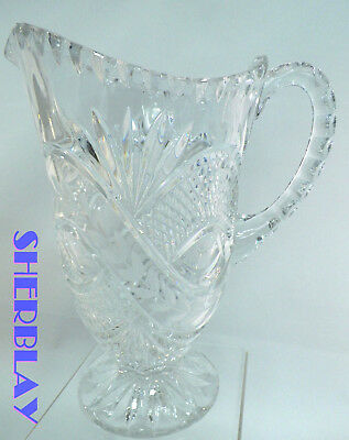 """STUNNING Vintage Clear Glass Crystal Large Heavy Water Drink Pitcher 8.75"""" x 5"""""""